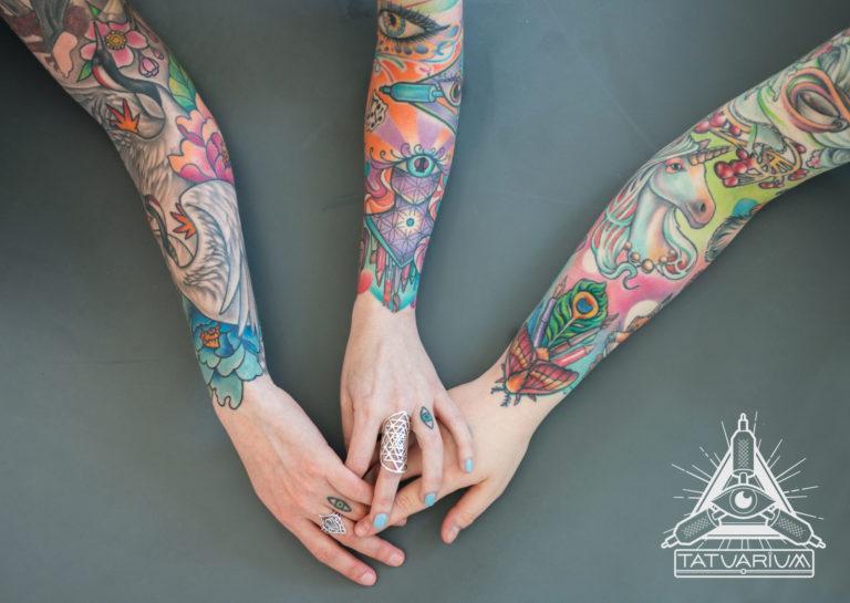 Photo of three colourful full-sleeve tattoos from Tatuarium artist Anna Idza